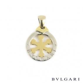 Bvlgari Steel and Gold Small Snowflake Tondo Pendant